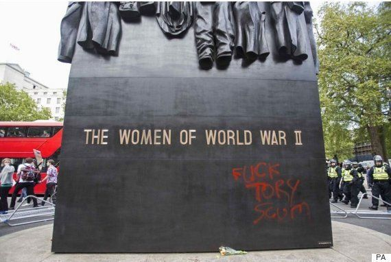 The row erupted after a memorial to the women of the Second World War in Whitehall was daubed with the...