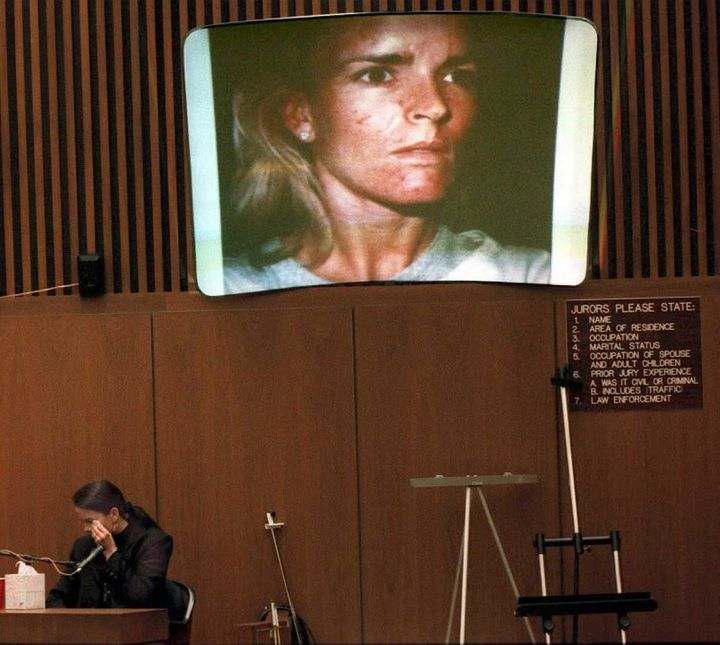 The above is just one of the photos of Nicole Brown Simpson with bruises on her face presented by the prosecution in the cour