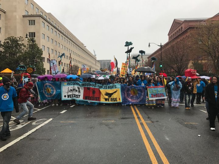 Demonstrators march through Washington, D.C., on Friday to protest the Dakota Access Pipeline.