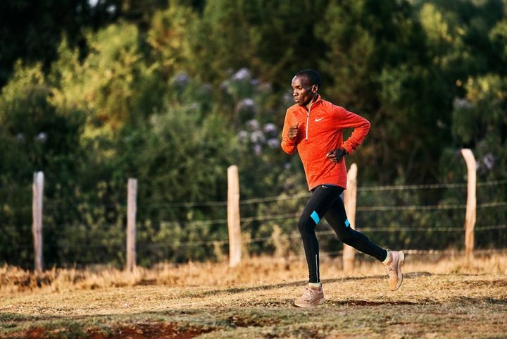 <p>Eliud Kipchoge wears Nike's customized Zoom Vaporfly Elites as he trains in Eldoret, Kenya to break the two hour mark. For his test run, our writer tested the consumer version of the shoe, the Zoom Vaporfly 4%.</p>