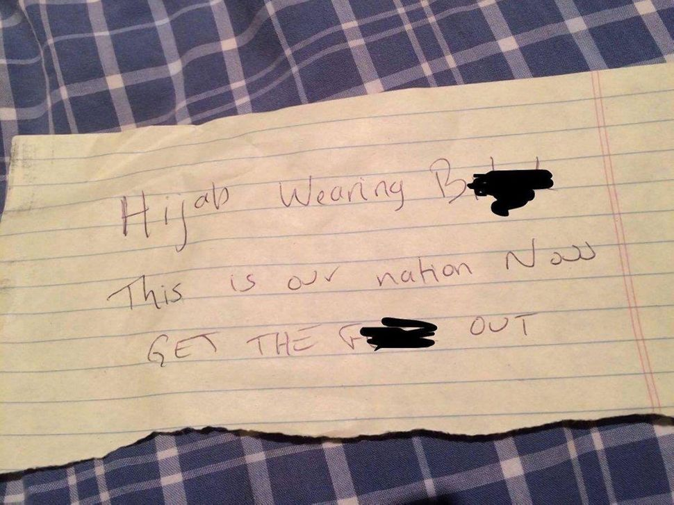 A note left in the car of a woman in Fremont, California, on Nov. 14, 2016.