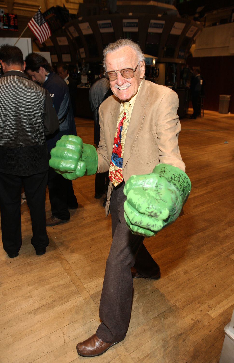 Cartoonist Stan Lee visits the New York Stock Exchange on Oct. 5, 2010, in New York City.