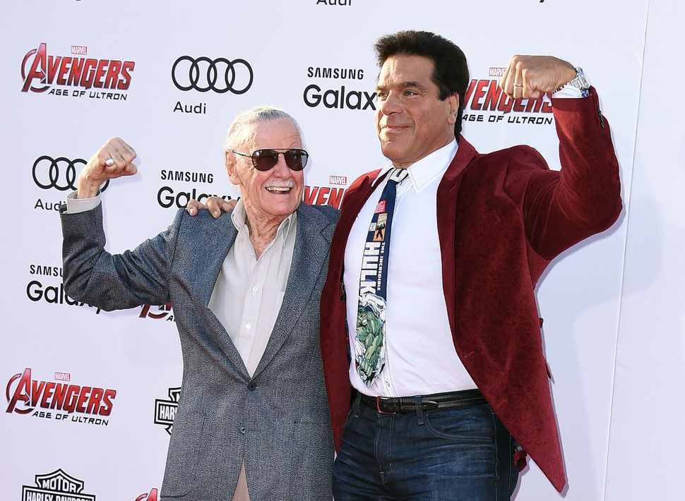 Executive producer and creator Stan Lee with and actor Lou Ferrigno at the premiere of Marvel's 'Avengers: Age of Ultron' at