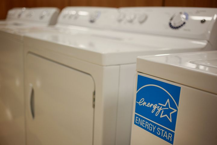 An Energy Star logo is seen on washing machine displayed for sale at a Conn's Inc. HomePlus store in Knoxville, Tennessee.