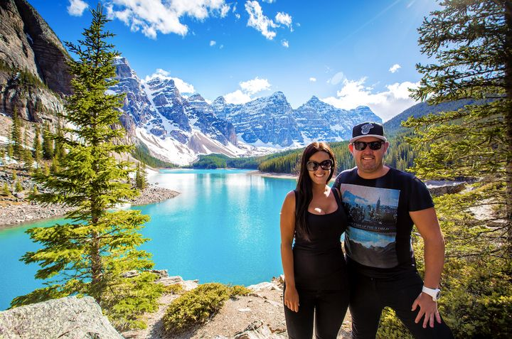 The couple posing in the Canadian Rockies.