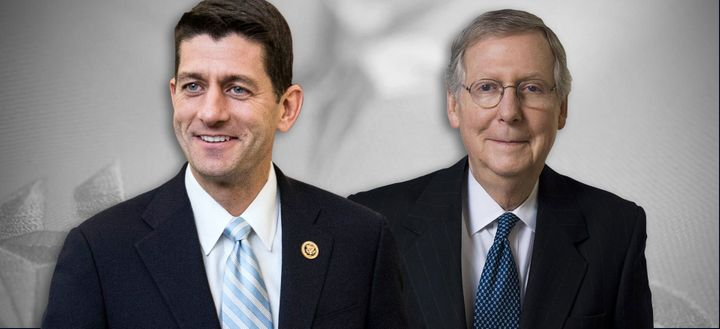 Speaker of the House Paul Ryan (left, R-WI) and Senate Majority Leader Mitch McConnell (R-KY)