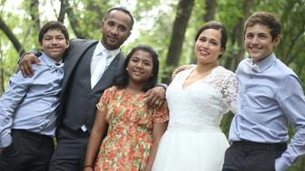 Ched Nin pictured with his family was awaiting deportation and was recently released