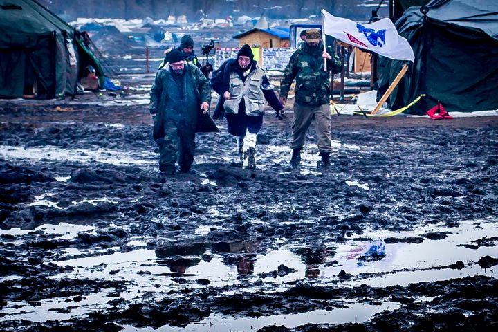 Inside Oceti Sakowin camp on the day the eviction order went into effect, February 22, 2017.