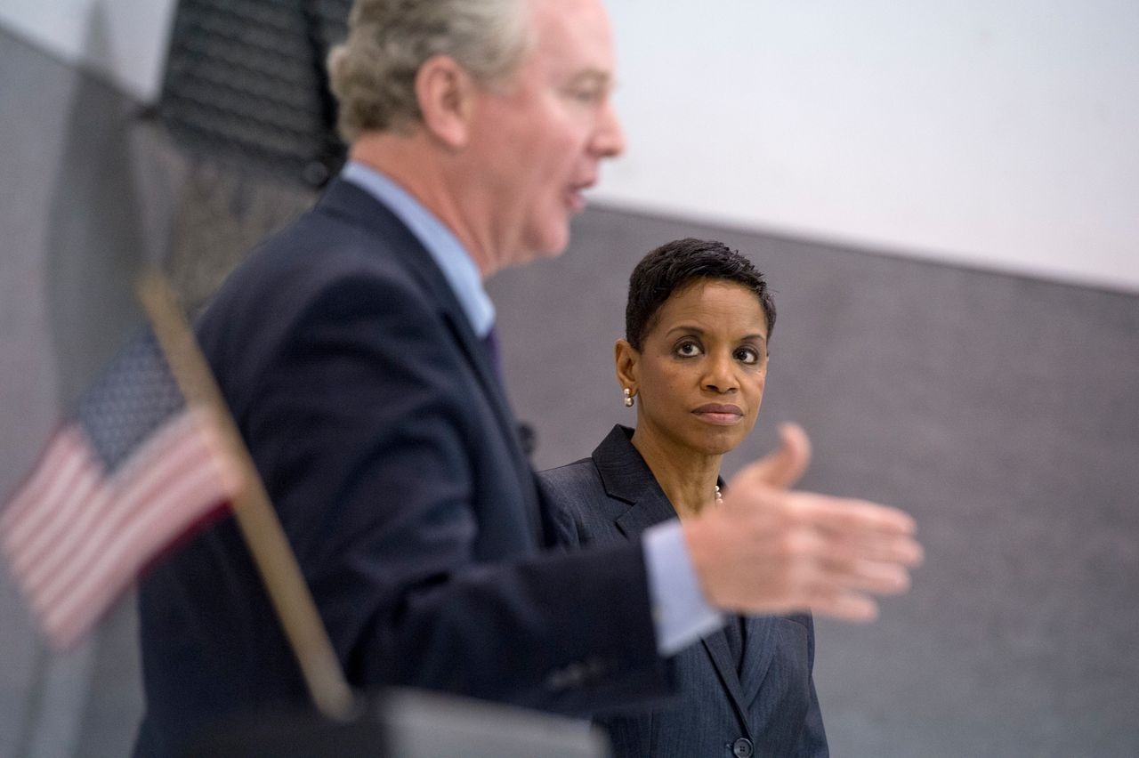 Chris Van Hollen and Edwards participate in a candidate forum in April 2016 before they faced off in the Maryland Democratic primary for the state's open Senate seat.
