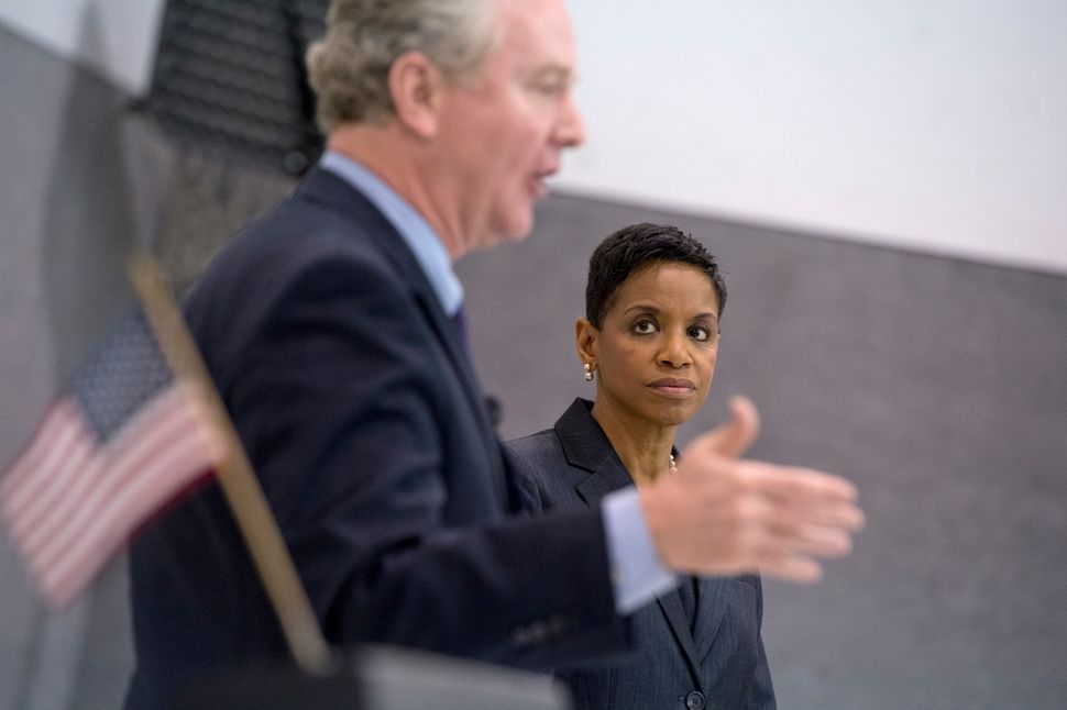 Chris Van Hollen and Edwards participate in a candidate forum in April 2016 before they faced off in the Maryland D