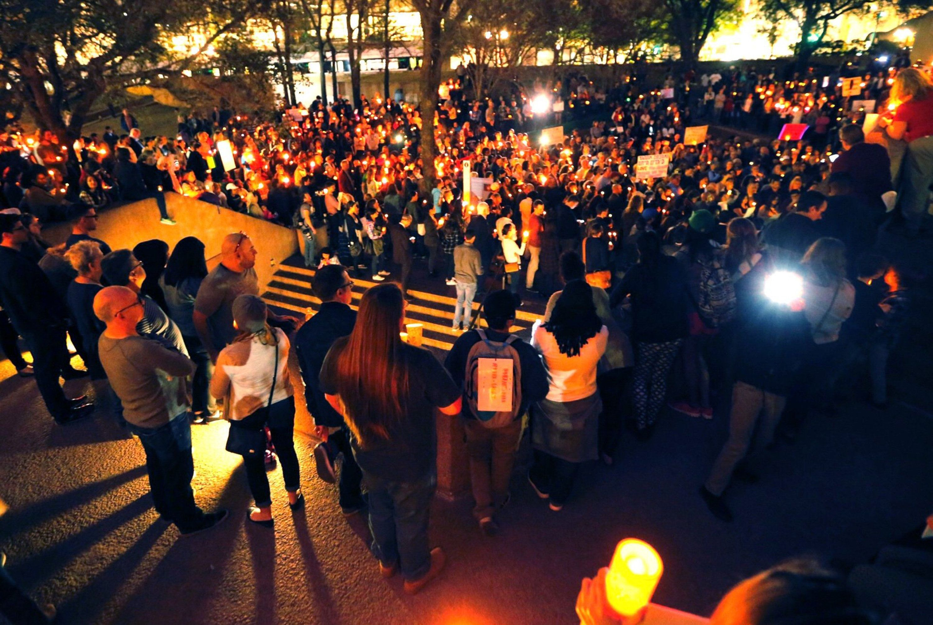 A vigil for refugees on Monday, Jan. 30, 2017 in Dallas, Texas.