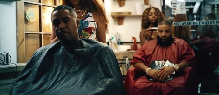 "Nas and DJ Khaled seen in the video, ""Nas Album Done."""