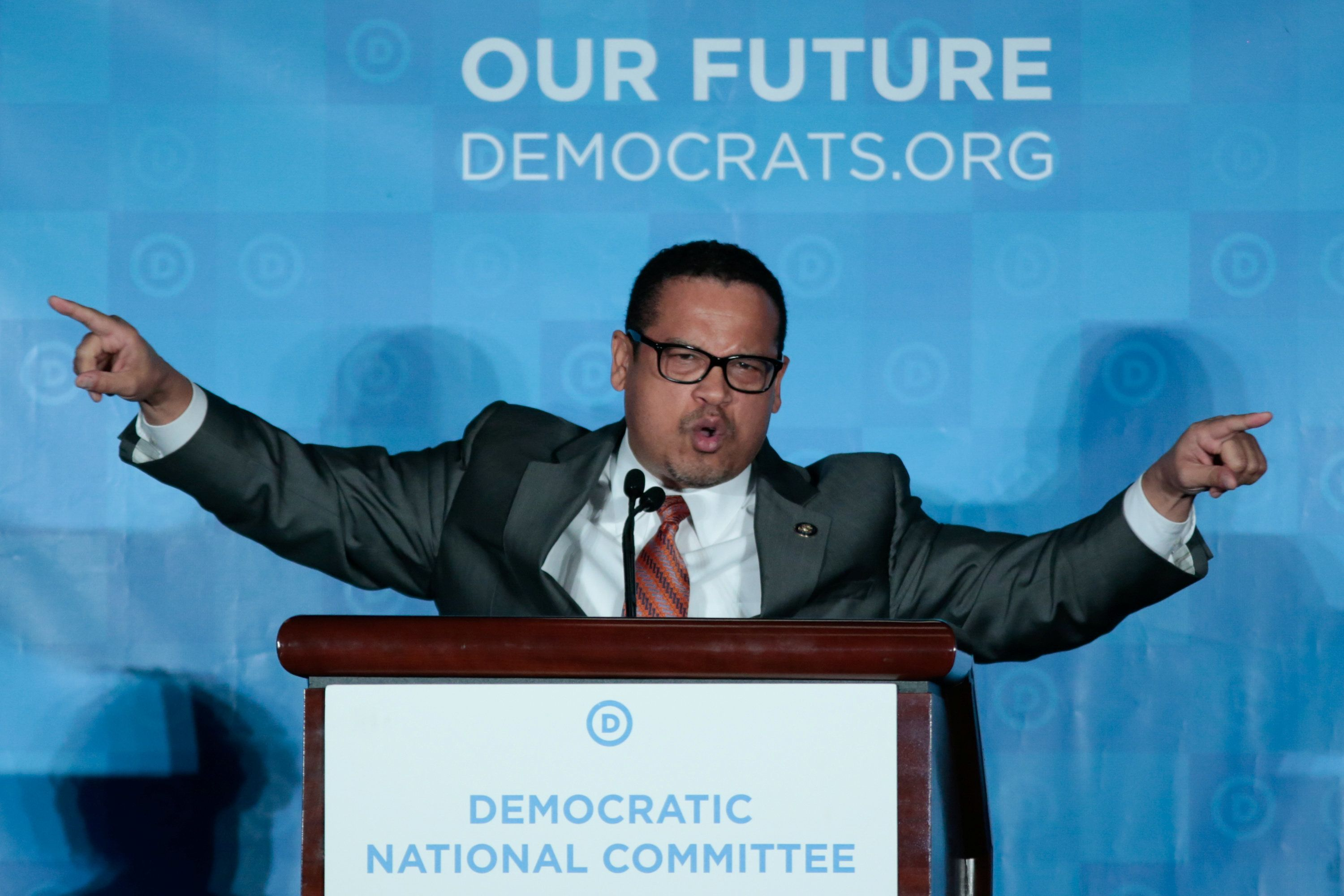 Keith Ellison addresses the audience as the Democratic National Committee holds an election in Atlanta on Feb. 25, 2017. He l