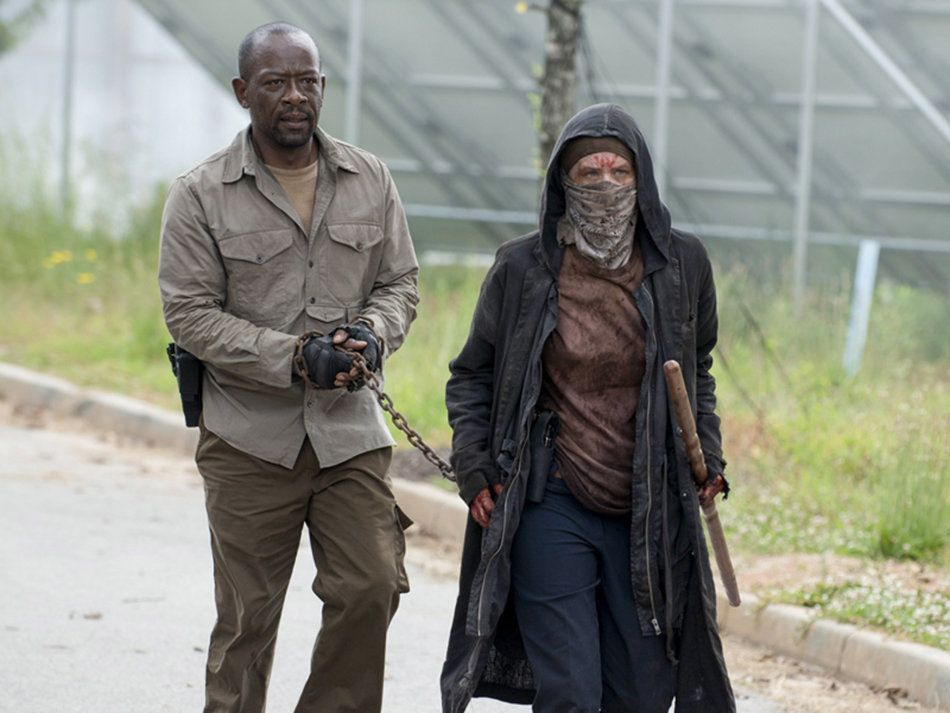 Lennie James as Morgan Jones and Melissa McBride as Carol Peletier - The Walking Dead _ Season 6, Episode 2 - Photo Credit: Gene Page/AMC