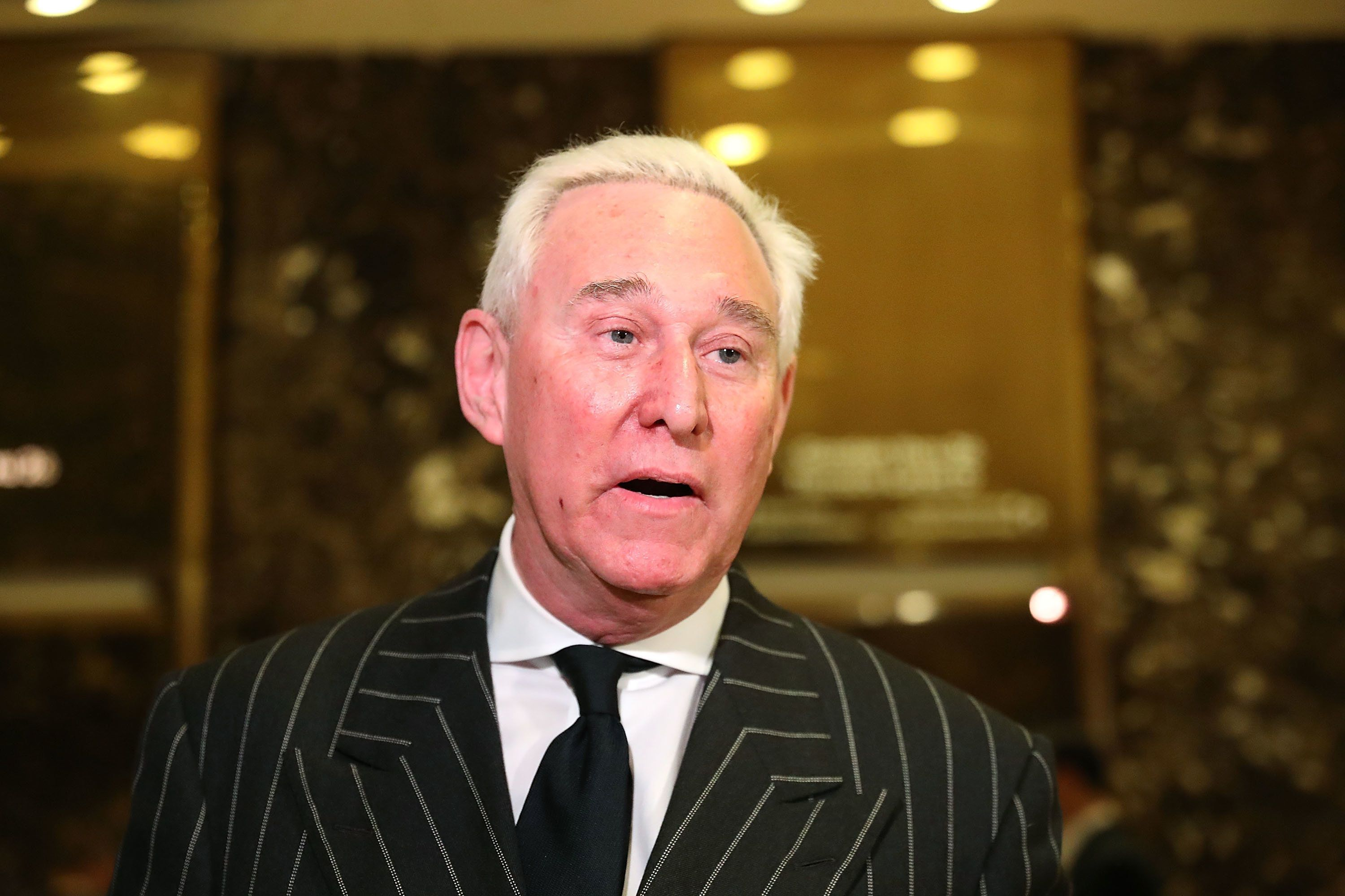 NEW YORK, NY - DECEMBER 06:  Roger Stone speaks to the media at Trump Tower on December 6, 2016 in New York City. Potential members of President-elect Donald Trump's cabinet have been meeting with him and his transition team over the last few weeks.  (Photo by Spencer Platt/Getty Images)