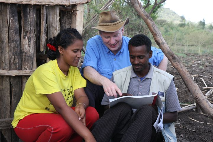 Dr. Paul Emerson with community health agents in Ethiopia.