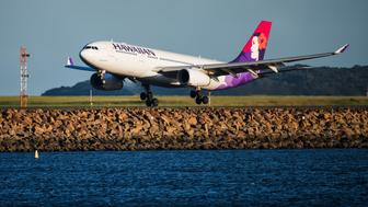 Sydney, Australia November 17, 2015 -Airbus A330 in Hawaiian colour scheme arriving at Sydney Kingsford Smith airport late afternoon.