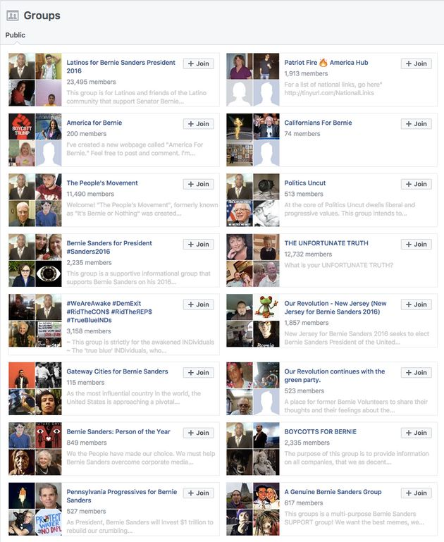 Mitov's long list of pro-Sanders Facebook pages shows no other outside