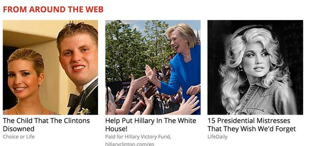 This screenshot captured by Keegan Goudiss during the campaign shows fake news to the left, Clinton fundraising...