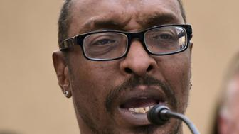 Muhammad Ali, Jr., son of boxing legend Muhammad Ali, speaks during a forum on the consequences of US President Donald Trump's immigration policies at the US Capitol in Washington, DC on March 9, 2017. / AFP PHOTO / Mandel Ngan        (Photo credit should read MANDEL NGAN/AFP/Getty Images)