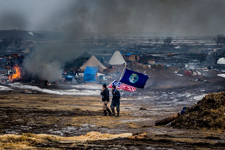 Approximately 100 water protectors remained inside the camp after the eviction deadline passed.
