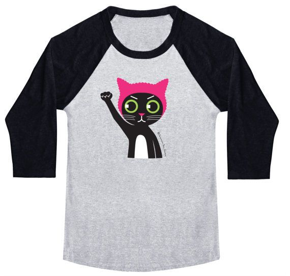 """<a rel=""""nofollow"""" href=""""https://www.etsy.com/listing/508802539/pussyhat-pussycat-on-unisex-baseball-tee?ref=shop_home_active_"""