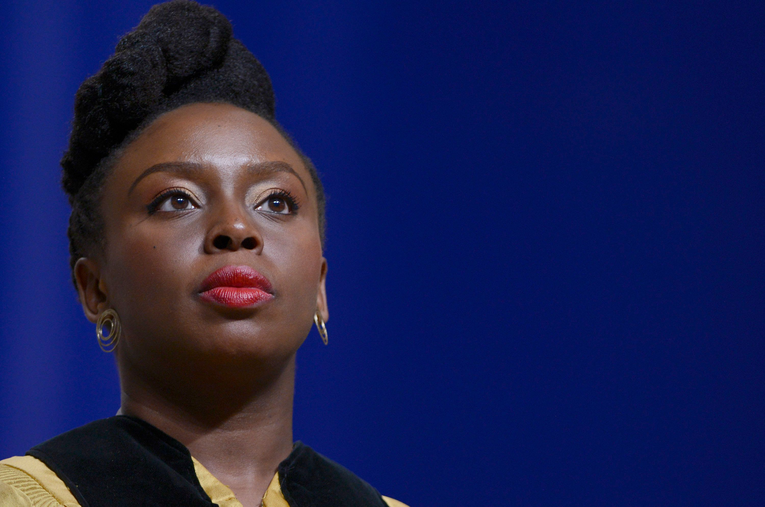 BALTIMORE, MD - MAY 18:  Chimamanda Ngozi Adichie receives an honorary doctorate of Humane Letters from Johns Hopkins University during the commencement ceremony at the Royal Farms Arena on May 18, 2016 in Baltimore, Maryland.  (Photo by Leigh Vogel/Getty Images)