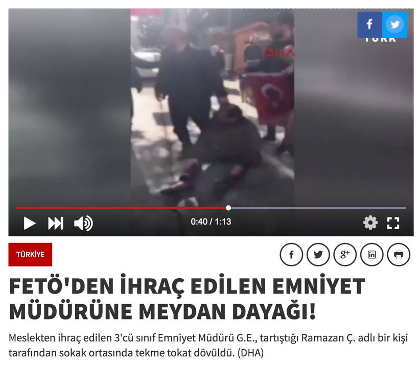 A man beats a fired police official in broad daylight in Black Sea Province of Samsun.