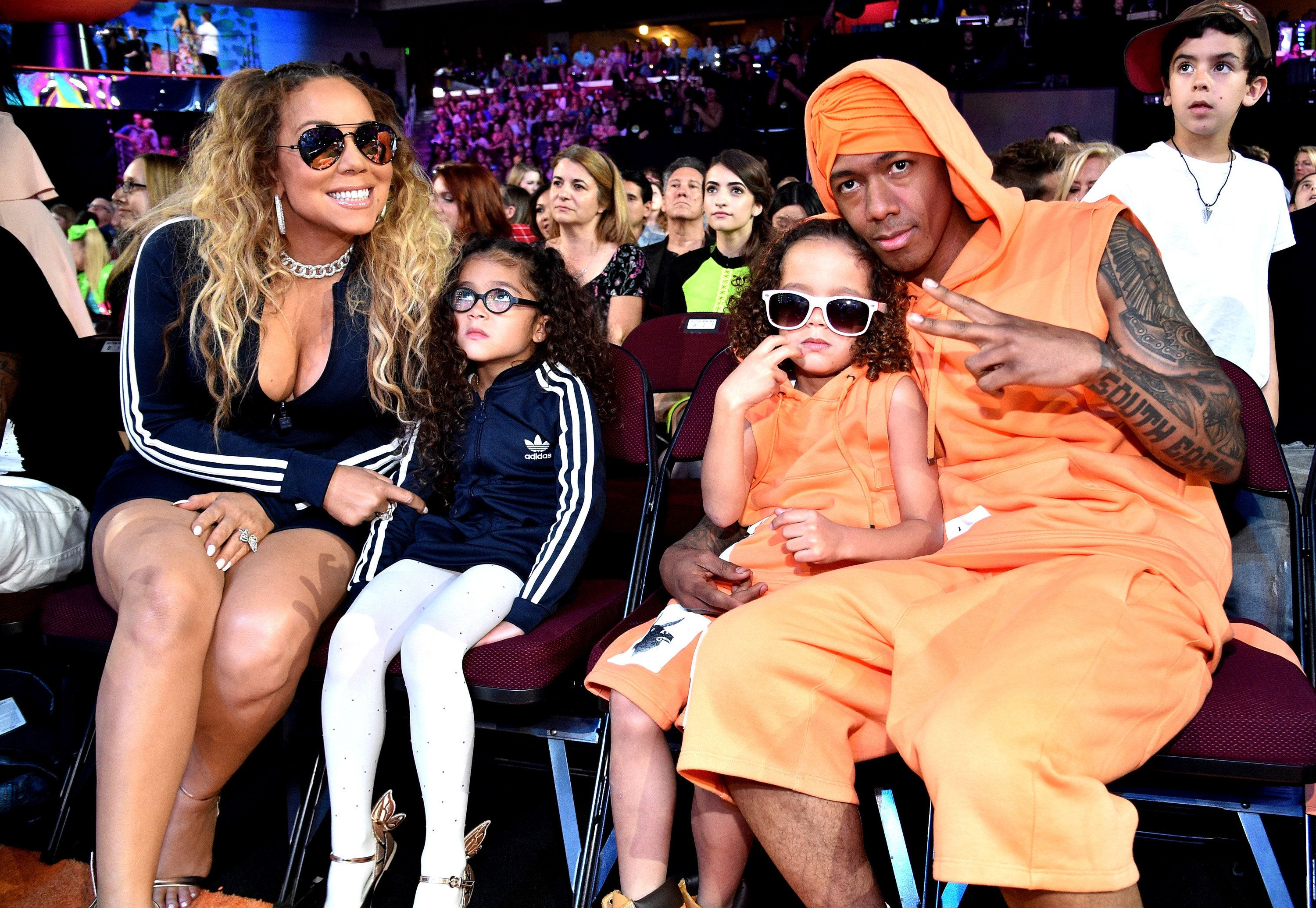 LOS ANGELES, CA - MARCH 11: (L-R) Mariah Carey, Monroe Cannon, Moroccan Scott Cannon and Nick Cannon during at Nickelodeon's 2017 Kids' Choice Awards at USC Galen Center on March 11, 2017 in Los Angeles, California.  (Photo by Kevin Mazur/KCA2017/WireImage)