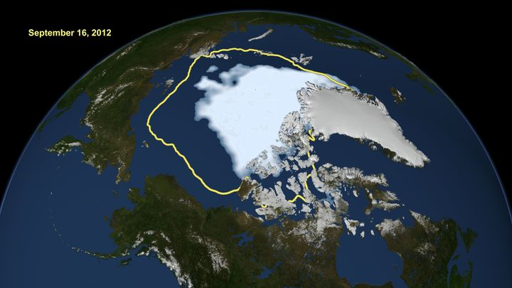 Over the years Arctic sea ice levels have dropped significantly compared to the average (in yellow) in previous decades.
