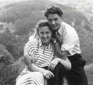 Nijolė Bražėnaitė and Juozas Lukša on their honeymoon in 1950.