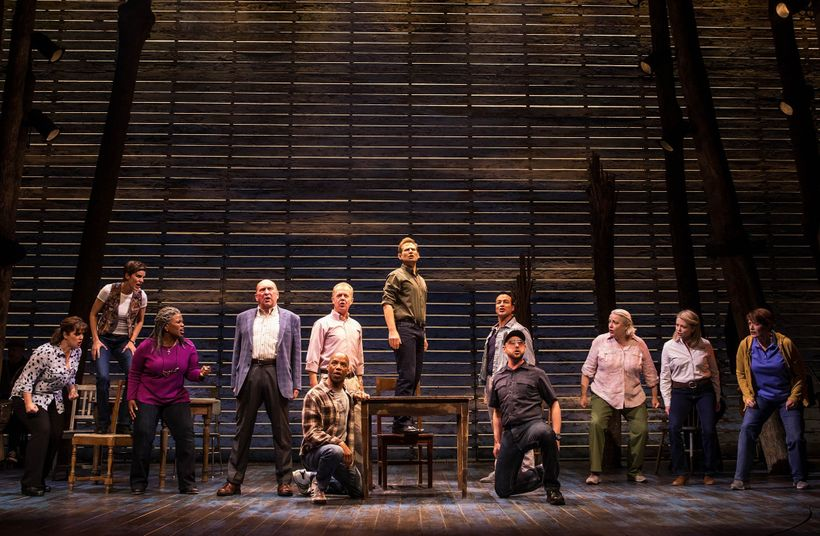 Chad Kimball (center) and the Cast of <em>Come From Away</em>