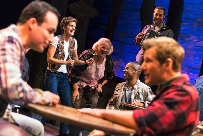 Caesar Samayoa, Jenn Colella, Astrid Van Wieren, Rodney Hicks and Chad Kimball in <em>Come From Away</em>