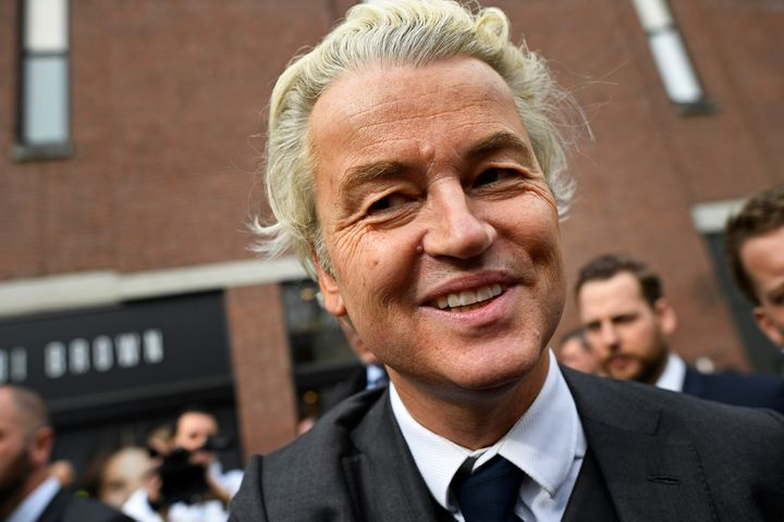 Dutch far-right politician Geert Wilders of the Party for Freedom party smiles during a rally in Heerlan, Netherlands, on Mar