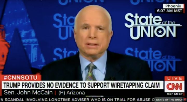 Sen. John McCain on Sunday called on President Trump to either back his wiretapping claim with evidence or retract it.