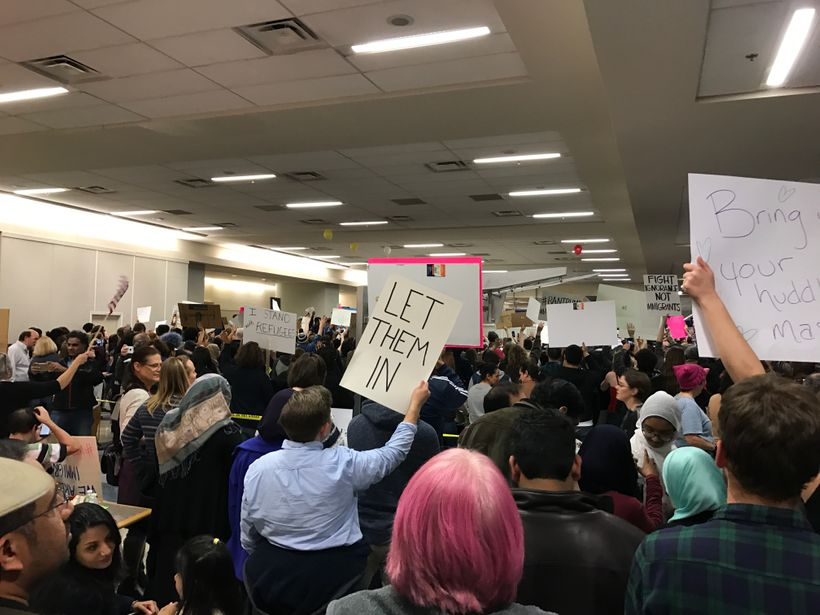Protest of the Muslim Ban at DFW, a major international hub.
