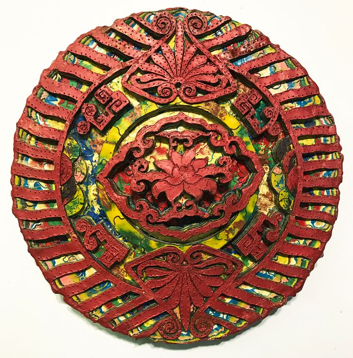 Renee Magnanti, <em>Ornament II</em> (2010), encaustic on panel, 12 inches in diameter by 1 1/2 inches deep