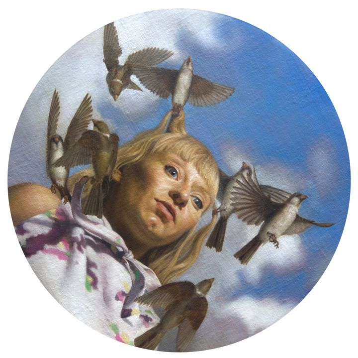 Zane York, <em>Woman with Sparrows</em>, (2013), oil on linen mounted on panel, 16 inches in diameter by 1 inch deep