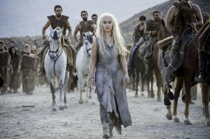 "In ""Game of Thrones,"" members of the nomadic Dothraki tribe, pictured above behind Daenerys Targaryen, speak the Do"