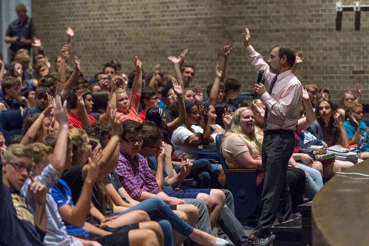 Joel Feldman working with high school teens