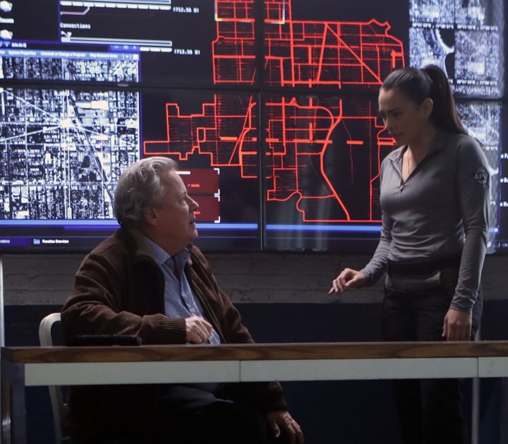 John Heard and Natalie Martinez on an upcoming episode of <em>APB</em>.