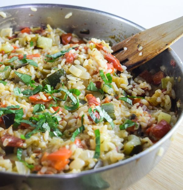 "<strong>Get the <a href=""https://yupitsvegan.com/2016/09/06/one-pot-ratatouille-rice/"" target=""_blank"">One-Pot Ratatouille Ri"
