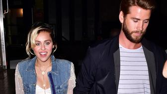 NEW YORK, NY - SEPTEMBER 16:  Miley Cyrus and Liam Hemsworth arrive to Catch on September 15, 2016 in New York City.  (Photo by James Devaney/GC Images)