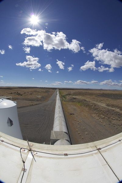 The view looking down one of a LIGO interferometer's 2.5 mile-long arms.