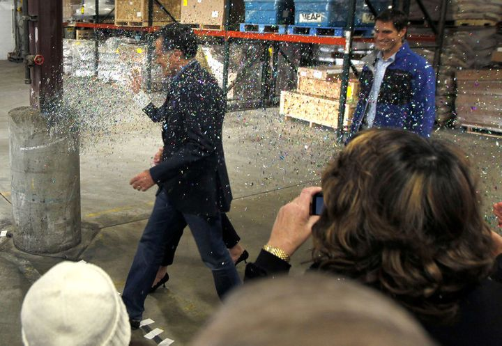 Mitt Romney being glitter-bombed in 2012.