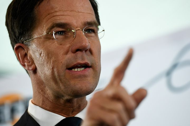 Dutch Prime Minister Mark Rutte attends a news conference during campaigning for the Dutch elections in Rotterdam, Netherland