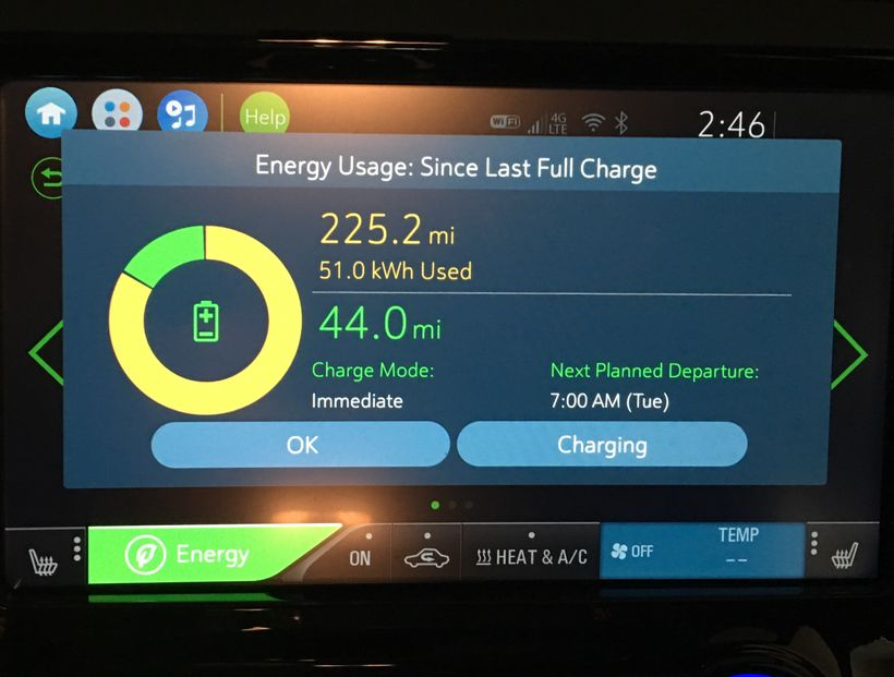 Chevy Bolt energy usage screen