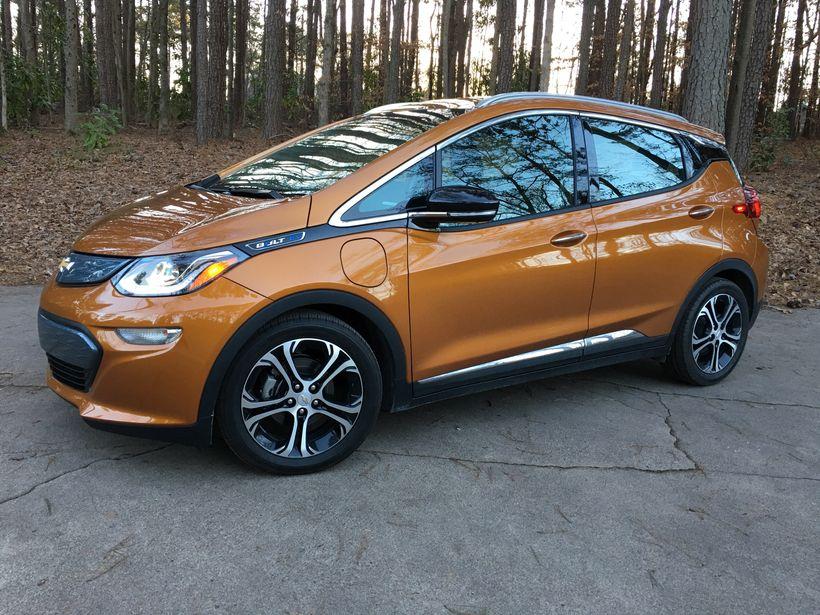2017 Chevrolet Bolt Premier in Orange Burst Metallic side view