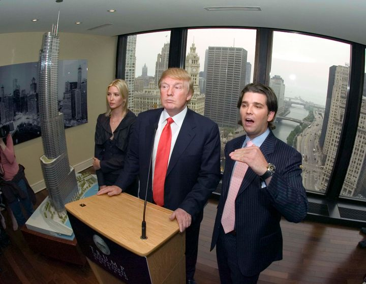 Donald Trump Jr., with his father and sister Ivanka, speaks to the press in Chicago on May 10, 2006, about plans for a Trump