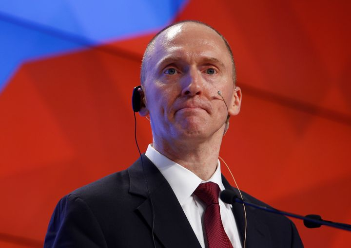 Carter Page, a member of the Trump campaign's foreign policy team, delivers a speech in Moscow in 2016 in which he criticizes